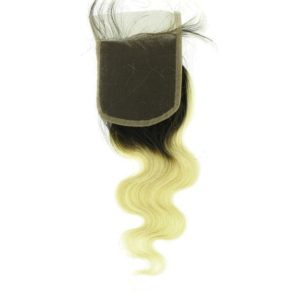 Closure Lace frontal 4x4 péruvienne ou malaisienne Body Wave (ondulée) Tie and Dye Noire, Blonde