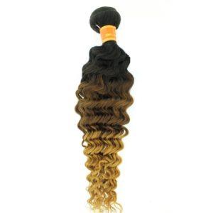 Tissage ou mèche péruvienne ou malaisienne Deep Wave (ondulée) Tie and Dye Noir, Châtain clair, Jaune
